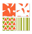 set of seamless abstract orange and green patterns vector image