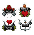 set of tattoo design emblems vector image