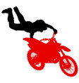silhouette of motorcycle rider performing trick vector image