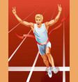 sprinter runner running winner at finish line vector image