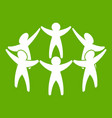 team or friends icon green vector image vector image
