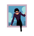 thief burglar in black disguise breaking into vector image