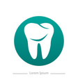 tooth logo in green rectangle with shadow dental vector image