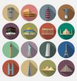 travel landmarks icon set vector image vector image