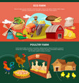 two farm cartoon banner set vector image