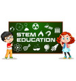 two kids with stem education on board vector image vector image