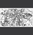 warsaw poland map in black and white color vector image