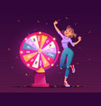 wheel fortune and lucky girl winner in casino vector image
