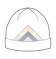 white hat with geometric print vector image vector image