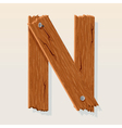 wooden letter n vector image vector image