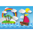 yacht on sea and rainbow vector image vector image