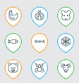 zoology icons set with seafood fish bone deer vector image vector image