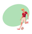 handsome blond soccer football player in uniform vector image