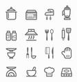 Kitchen symbol line icon set vector image