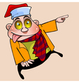 cheerful cartoon character with big eyes showing vector image