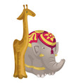 toy figurines giraffe and elephant vector image