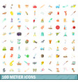 100 metier icons set cartoon style vector image vector image