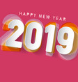 2019 happy new year design on pink background vector image vector image