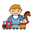 baby boy rocking horse train toys vector image