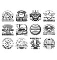 baseball sport items and players vector image vector image