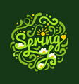 brush lettering spring in round on dark green vector image