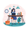 business woman sitting at laptop vector image