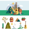 Camping outdoor design elements in flat style vector image