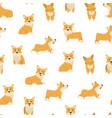 cartoon characters welsh corgi seamless pattern vector image vector image