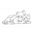 cat and dog line art 11 vector image vector image
