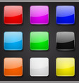 colored glass 3d buttons square icons on black vector image vector image