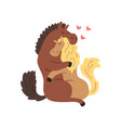 couple of horses in love embracing each other two vector image vector image