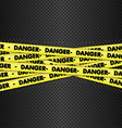 Danger tape on metallic background vector image vector image