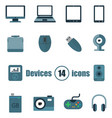 devices set of 14 icons in a flat style vector image vector image