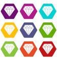 diamond icon set color hexahedron vector image