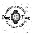 dive time monochrome emblem in retro style vector image vector image