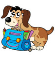 dog with school bag vector image