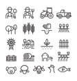 farm and agriculture line icons set vector image vector image
