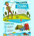 fishing equipment and fisherman tackle vector image vector image