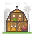Flat design barn interior infographic vector image vector image