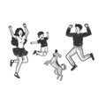 happy jumping family sketch engraving vector image vector image