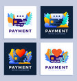 heart and chat bubble sign and credit card stock vector image