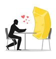 Lover gold Lovers in cafe Man and Gold Bar sits at vector image vector image