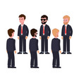 male characters in suits front and back views vector image vector image