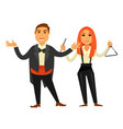 opera singer in tuxedo and woman who plays on vector image vector image