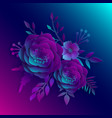 paper art realistic 3d flowers on a neon vector image