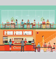 people buying fast food at fast food restaurant vector image vector image