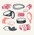 processed meat - hand drawn composite vector image vector image