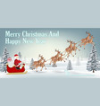 santa claus with reindeer on winter forest hill vector image vector image