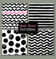 set hand drawn ink seamless patterns endless vector image