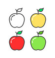 set linear colored apples vector image vector image